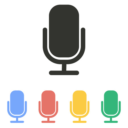 amplification: Microphone  icon  on white background. Vector illustration.