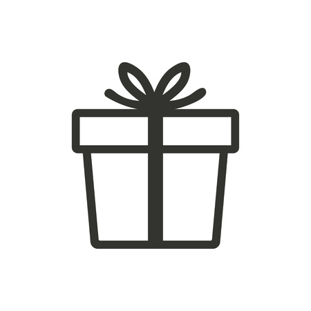 white boxes: Gift Box  icon  on white background. Vector illustration.
