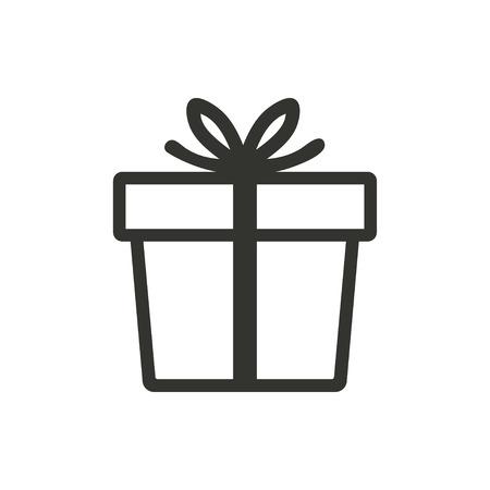 Gift Box pictogram op een witte achtergrond. Vector illustratie.