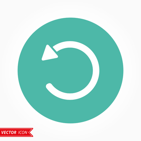 Reload  icon  on green background. Vector illustration. Çizim