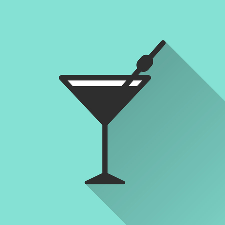 scotch: Cocktail  icon with long shadow, flat design. Vector illustration.