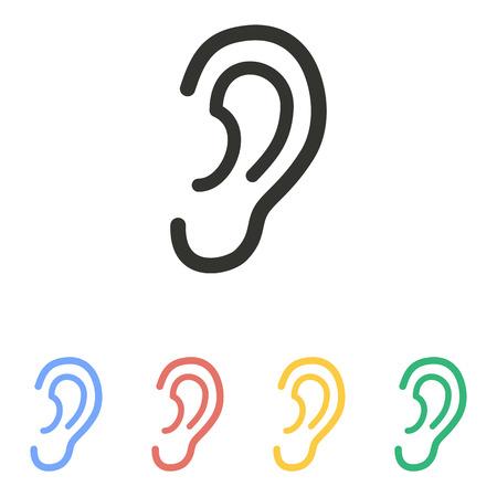 Ohr-Symbol auf weißem Hintergrund. Vektor-Illustration. Standard-Bild - 49766257