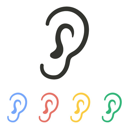 audible: Ear   icon  on white background. Vector illustration. Illustration