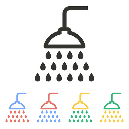 showering: Shower  icon  on white background. Vector illustration.