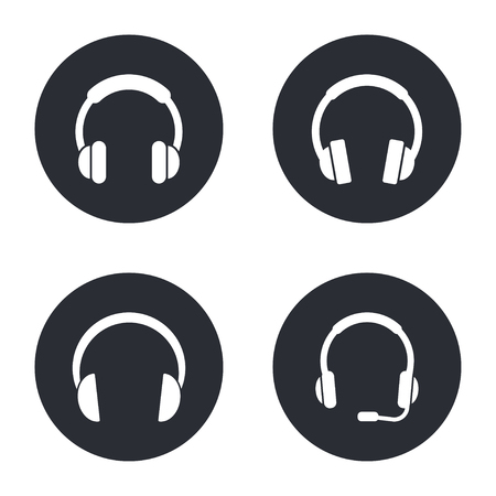 hear business call: Headphone  - vector icon in white  on a black background. Illustration