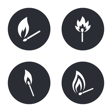 extinguishing: Match  - vector icon in white  on a black background.
