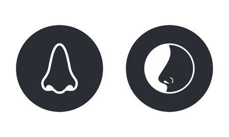 sniff: Nose  - vector icon in white  on a black background.