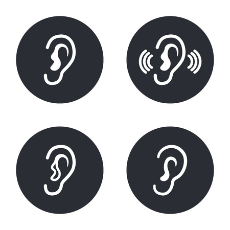 listener: Ear - vector icon in white  on a black background. Illustration