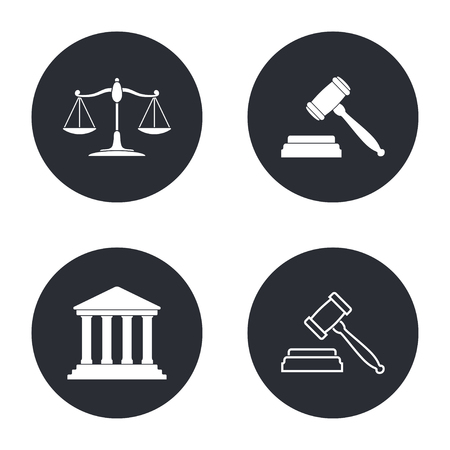 tribunal: Court - vector icon in white  on a black background. Illustration