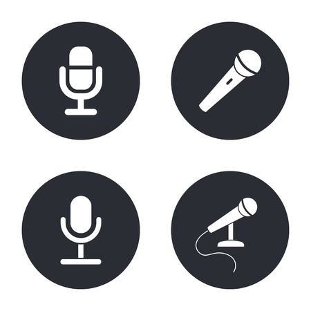 amplify: Microphone  - vector icon in white  on a black background.