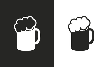 glas: Beer  -  black and white icons. Vector illustration Illustration