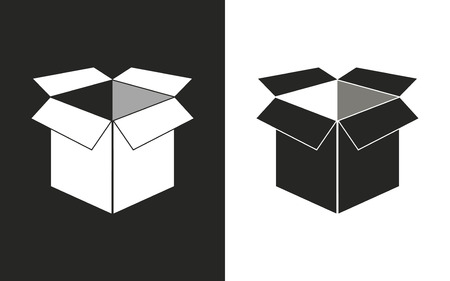 stockpile: Box  -  black and white icons. Vector illustration