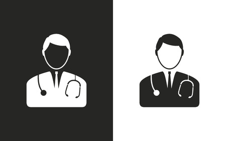 Doctor  -  black and white icons. Vector illustration