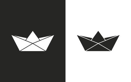 bateau de papier - icônes en noir et blanc. Vector illustration