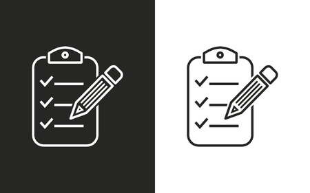 syllabus: Clipboard pencil  -  black and white icons. Vector illustration