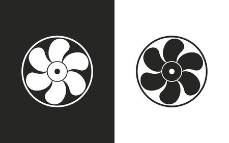 aeration: Fan  -  black and white icons. Vector illustration Illustration