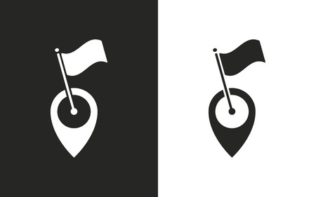 map pin: Map pin  -  black and white icons. Vector illustration Illustration