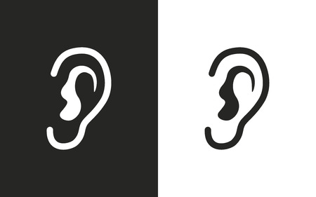 audible: Ear   -  black and white icons. Vector illustration Illustration