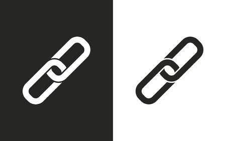 pressure linked: Link  -  black and white icons. Vector illustration Illustration