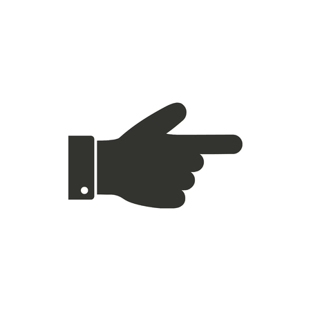 pointing hand: Hand   icon  on white background. Vector illustration.