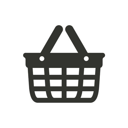 Koszyk ikonę na białym tle. ilustracji wektorowych.