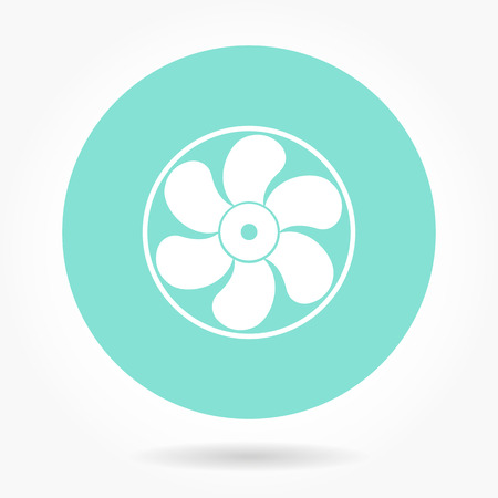 aeration: Fan  - vector icon in white on a green background.