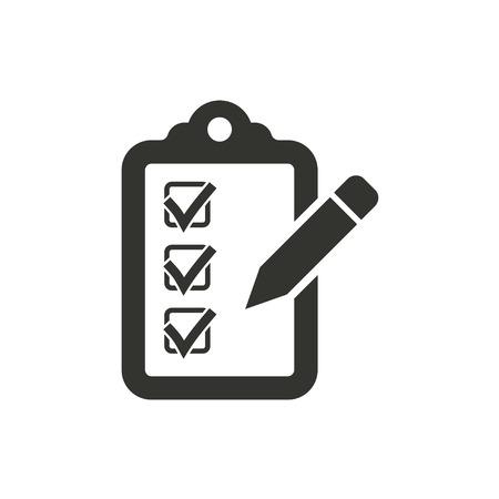 filling folder: Checklist  icon  on white background. Vector illustration.