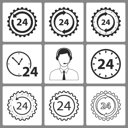 24 hour: Set of black 24 hour service  icons on white background for graphic design and Internet sites. Vector illustration.