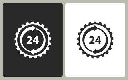 24 hour: 24 hour service -  black and white icons. Vector illustration Illustration