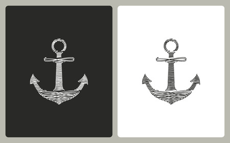 navy pier: Anchor -  black and white icons. Vector illustration