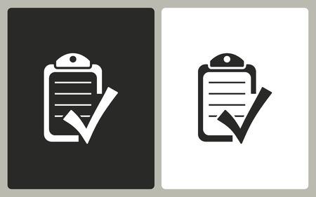 filling folder: Checklist -  black and white icons. Vector illustration