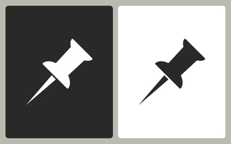 ip: Pushpin  -  black and white icons. Vector illustration