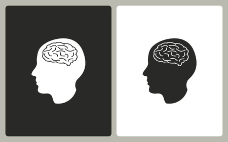 brain illustration: Brain  -  black and white icons. Vector illustration