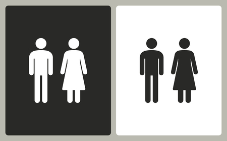 black woman: Man and Woman restroom -  black and white icons. Vector illustration