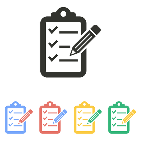 scheduling: Clipboard pencil  icon  on white background. Vector illustration.
