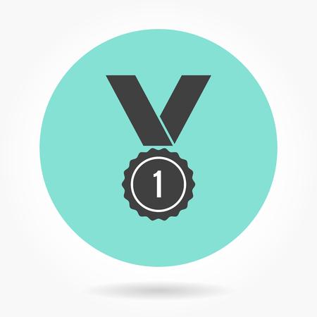 recognition: Award  icon  on green background. Vector illustration. Illustration