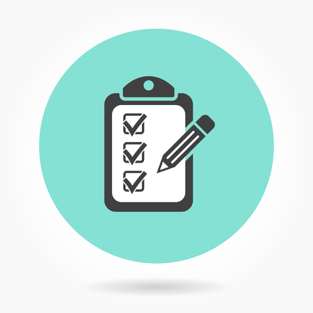 checklist: Clipboard pencil  icon  on green background. Vector illustration.