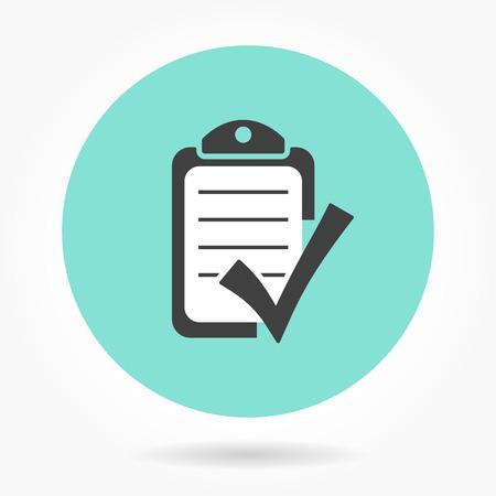 filling folder: Checklist  icon  on green background. Vector illustration.