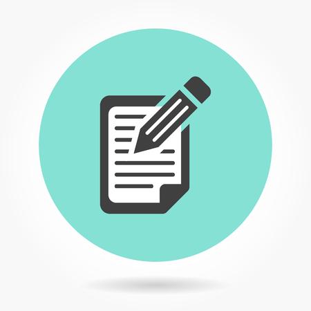 Registration  icon  on green background. Vector illustration.