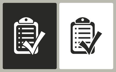 filling folder: Checklist  -  black and white icons. Vector illustration. Illustration