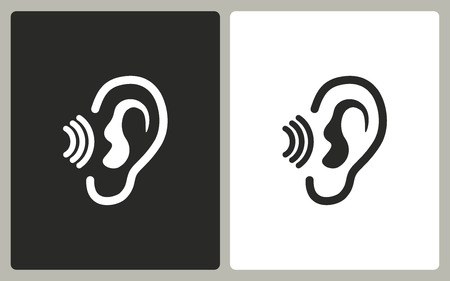 Ear   -  black and white icons. Vector illustration.  イラスト・ベクター素材