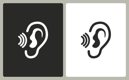 Ear   -  black and white icons. Vector illustration. Vettoriali