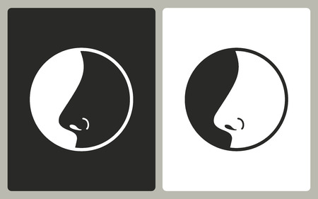 sniff: Nose   -  black and white icons. Vector illustration..