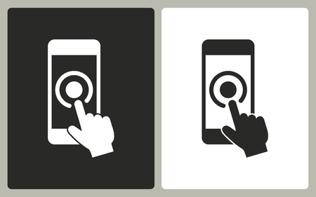 hit tech: Touch    -  black and white icons. Vector illustration. Illustration