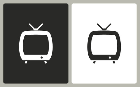 TV   -  black and white icons. Vector illustration.