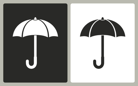 brolly: Umbrella   -  black and white icons. Vector illustration. Illustration