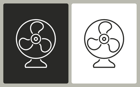 black fan: Fan   -  black and white icons. Vector illustration.