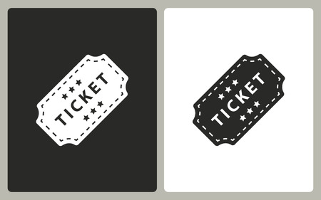 Ticket   -  black and white icons. Vector illustration.