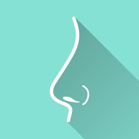 respiracion: icono de la nariz con una larga sombra, diseño plano. Ilustración del vector. Vectores