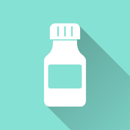a substance vial: Medicine bottle  icon with long shadow, flat design. Vector illustration.